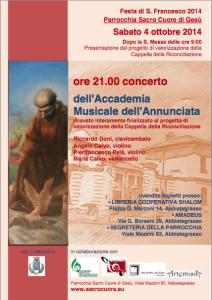 2014 Locandina concerto 4 ottobre San Francesco